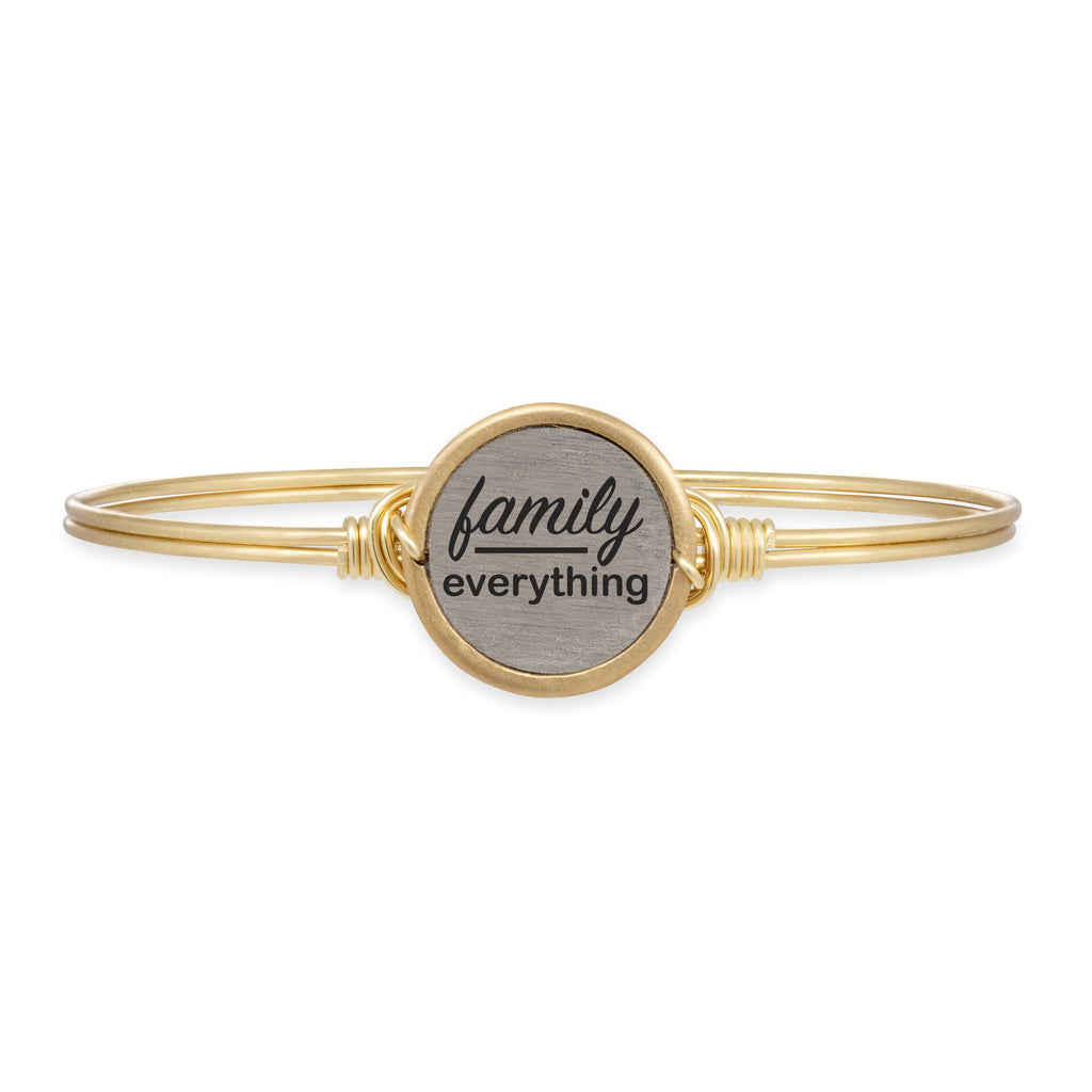 Family Over Everything Bangle Bracelet choose finish:Brass Tone