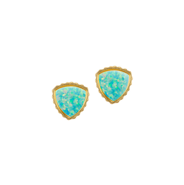Sterling Silver Trillion Earrings In Sea Foam Opal-Precious Metals Earrings-finish:18kt Gold Plated-Luca + Danni