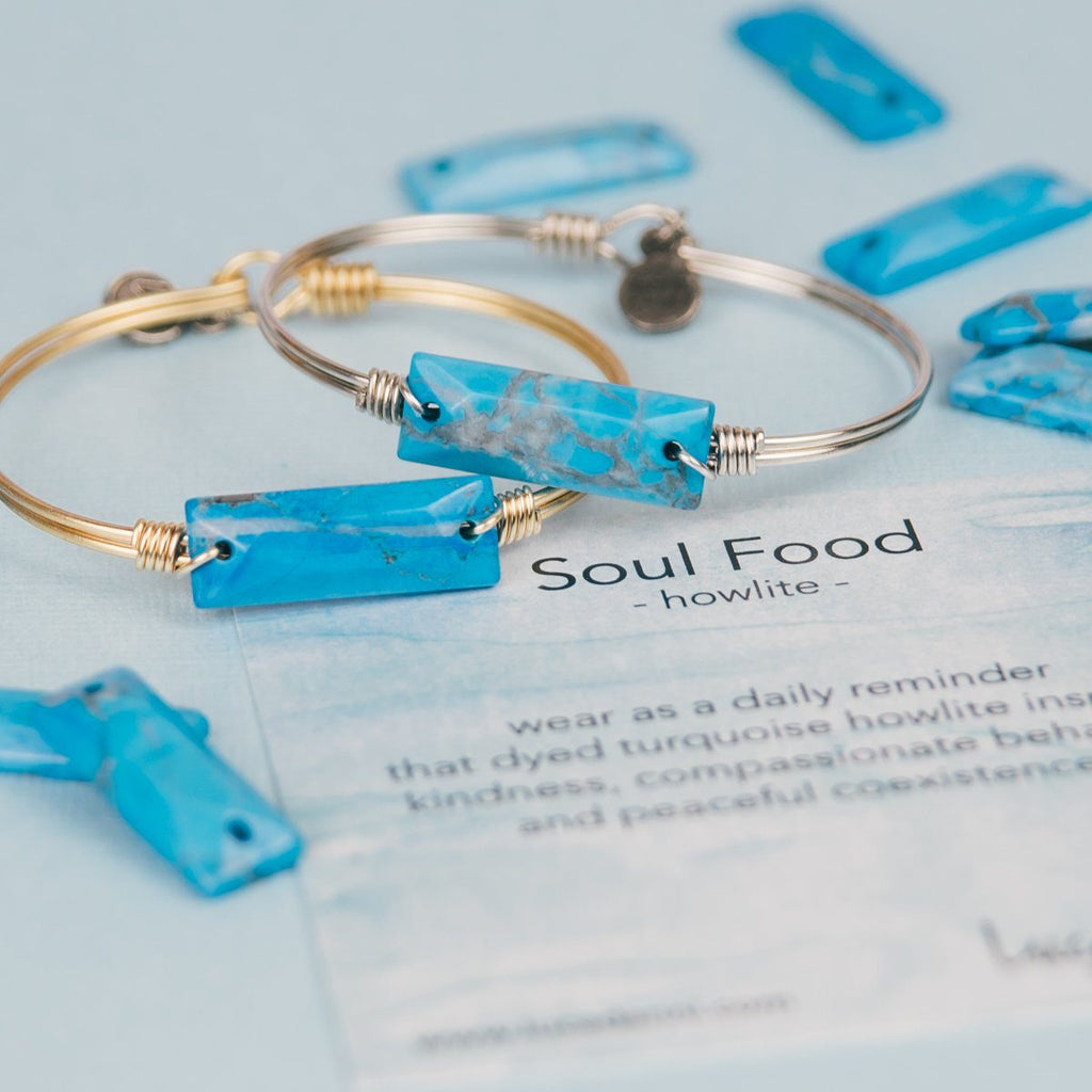 Hudson Bangle Bracelet in Dyed Turquoise Howlite-Bangle Bracelet-finish:-Luca + Danni