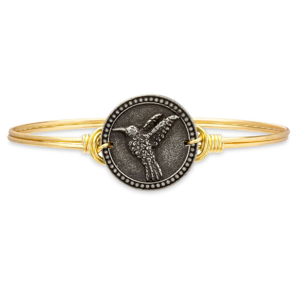 Hummingbird Bangle Bracelet-Bangle Bracelet-Regular-finish:Brass Tone-Luca + Danni