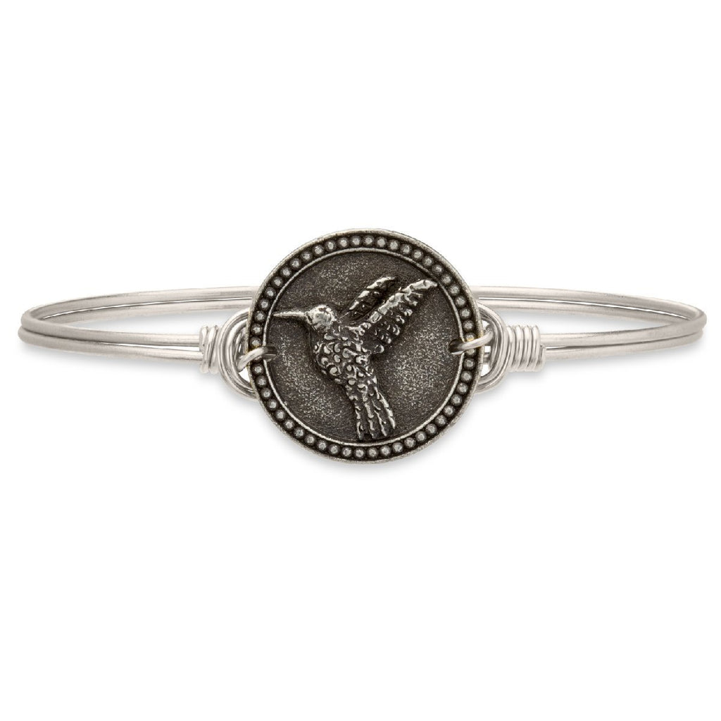 Hummingbird Bangle Bracelet-Bangle Bracelet-Regular-finish:Silver Tone-Luca + Danni