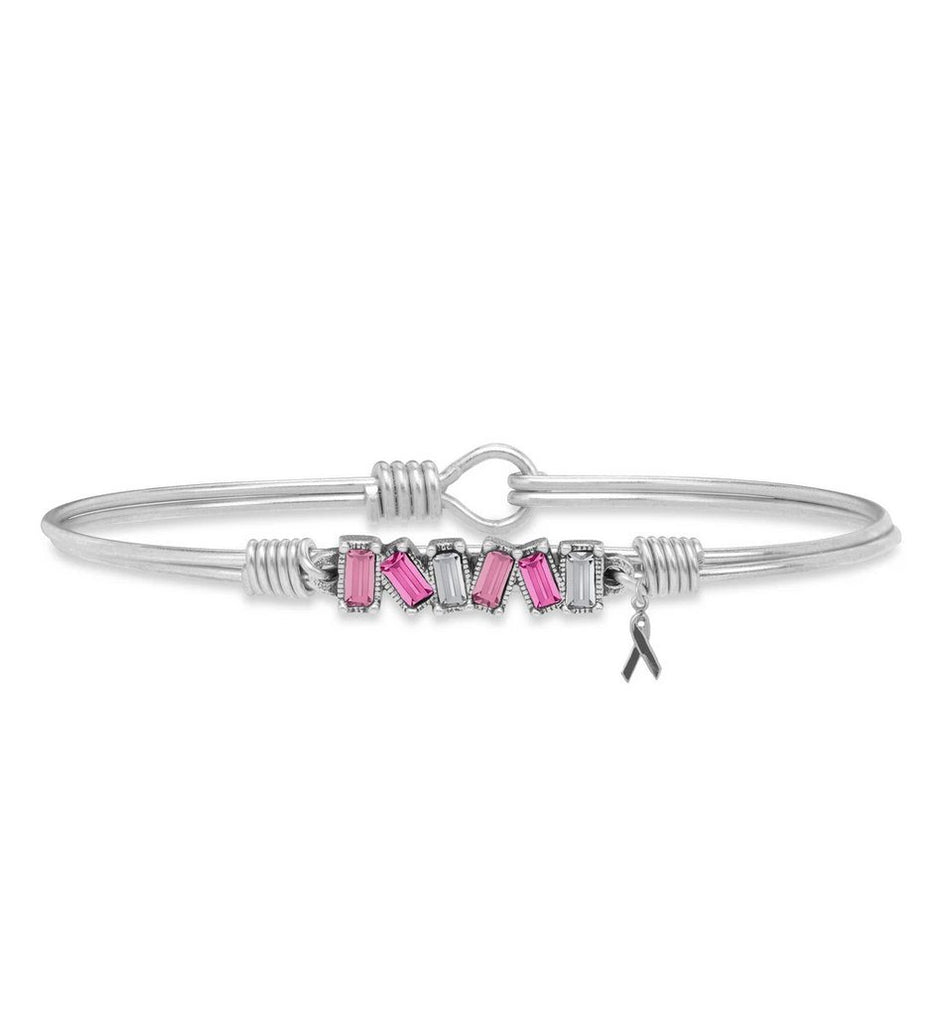 Mini Hudson Bangle Bracelet with Breast Cancer Ribbon