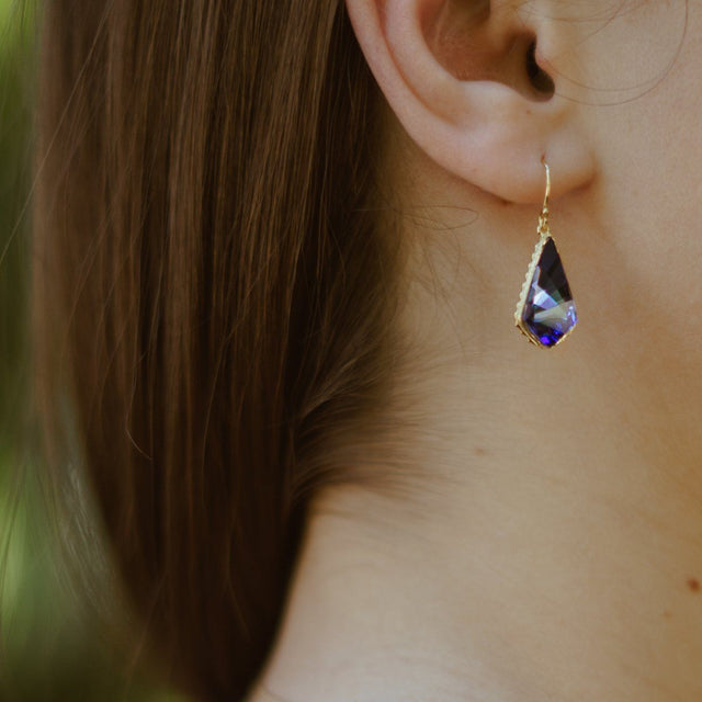 Sterling Silver Sloane Earrings In Tanzanite-Precious Metals Earrings-finish:18kt Gold Plated-Luca + Danni