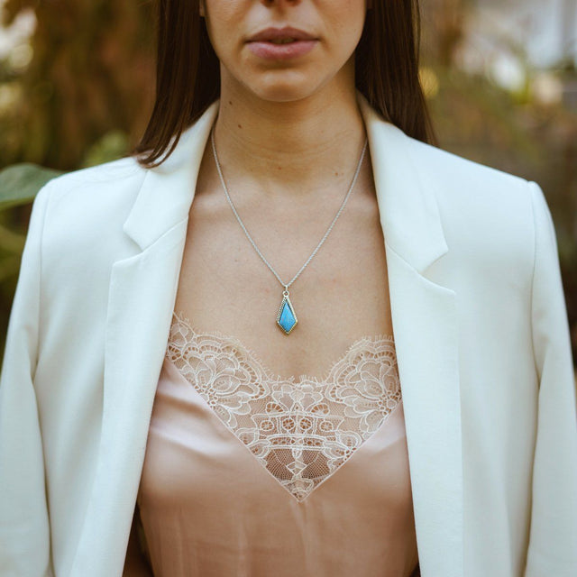 Sloane Necklace in Dyed Turquoise Howlite-Necklace-finish:-Luca + Danni