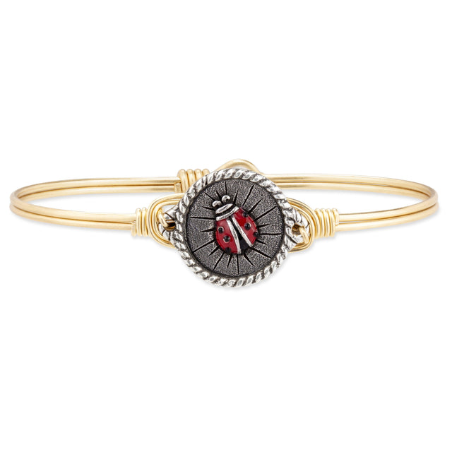 Ladybug Bangle Bracelet finish:Brass Tone