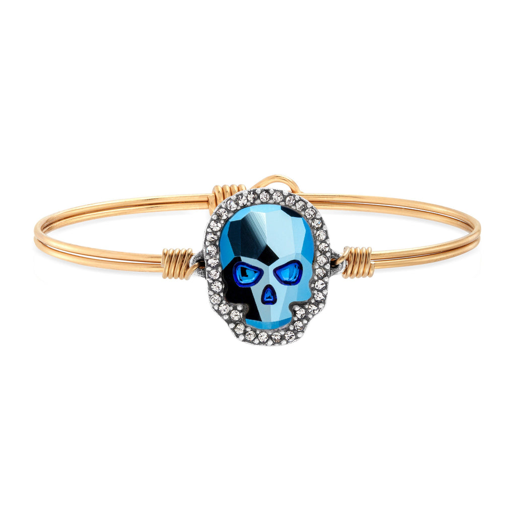 Crystal Pave Skull Bangle Bracelet in Metallic Blue choose finish:Brass Tone