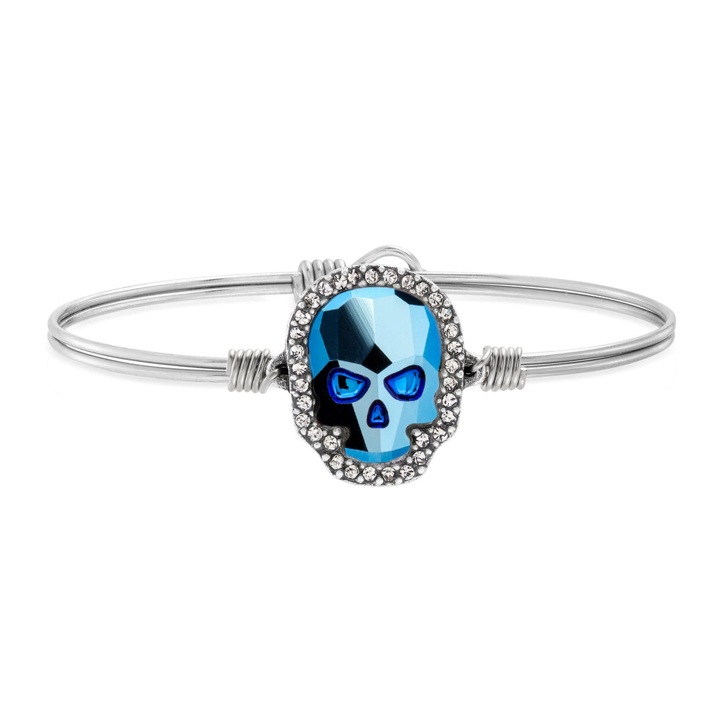 Crystal Pave Skull Bangle Bracelet in Metallic Blue choose finish:Silver Tone