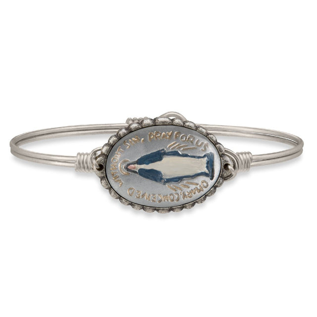 Mother Mary Intaglio Bangle Bracelet in Silver-Bangle Bracelet-Regular-finish:Silver Tone-Luca + Danni
