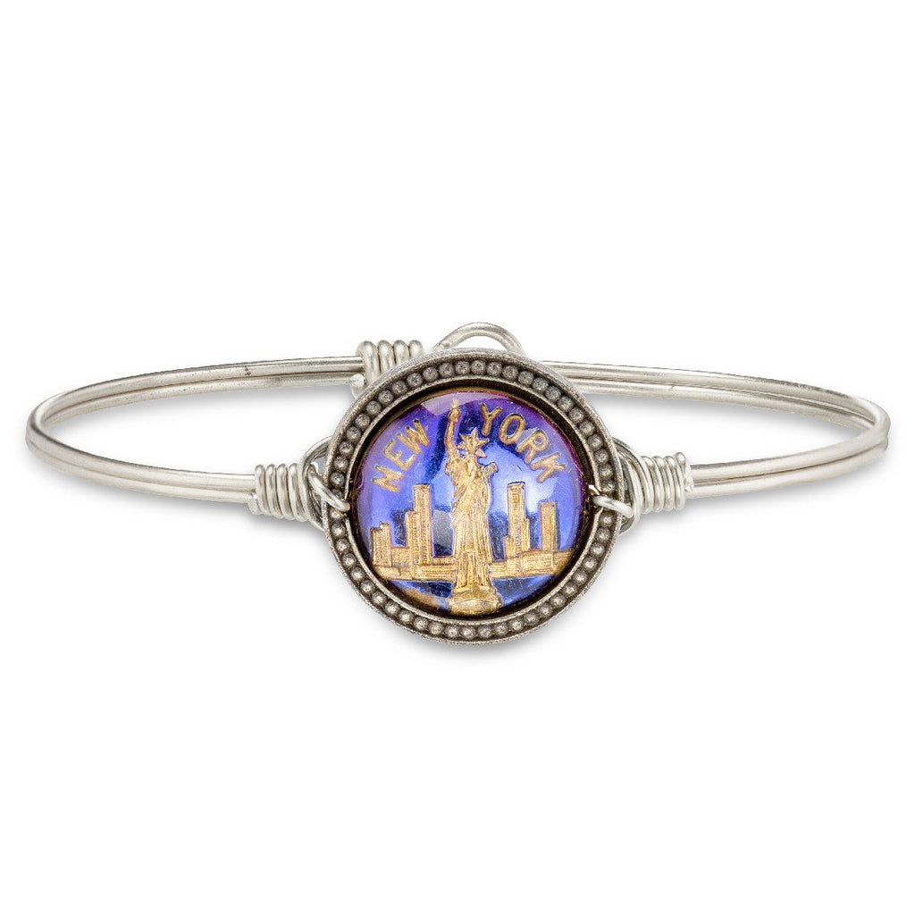 New York City Intaglio Bangle Bracelet-Bangle Bracelet-Regular-finish:Silver Tone-Luca + Danni