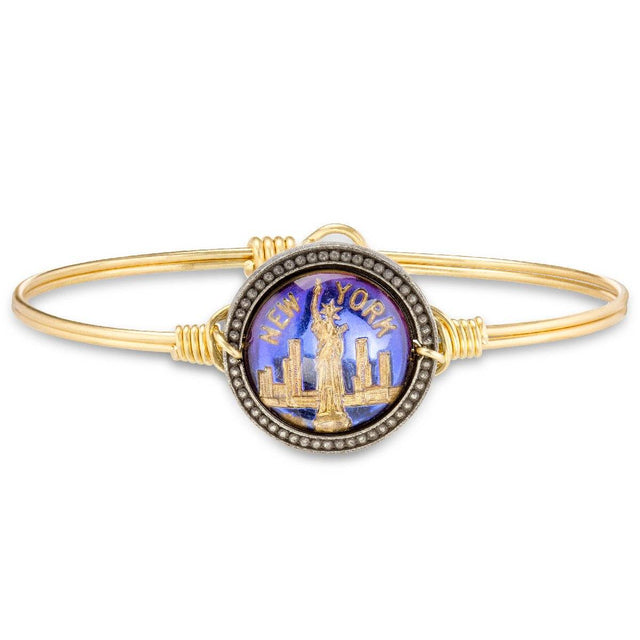 New York City Intaglio Bangle Bracelet-Bangle Bracelet-Regular-finish:Brass Tone-Luca + Danni