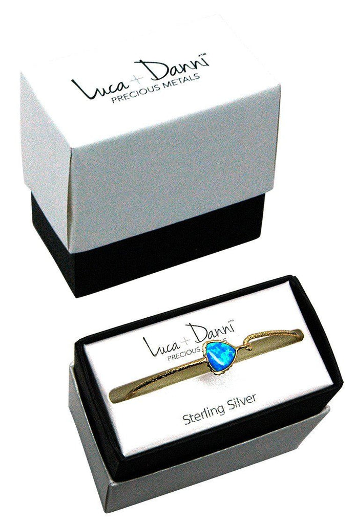 Sterling Silver Trillion Bangle Bracelet In White Opal-Precious Metals Bracelet-finish:-Luca + Danni