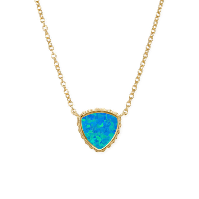 Sterling Silver Trillion Necklace In Pacific Opal-Precious Metals Pendant-finish:18kt Gold Plated-Luca + Danni