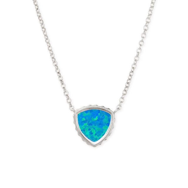 Sterling Silver Trillion Necklace In Pacific Opal