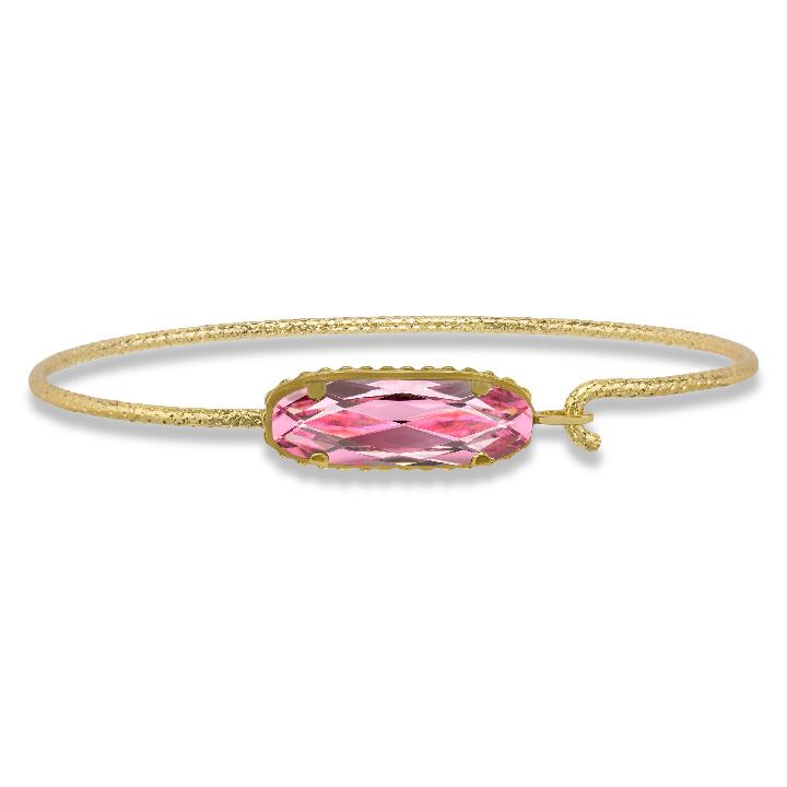 Sterling Silver Willow Bangle Bracelet In Light Rose-Precious Metals Bracelet-Regular-finish:18kt Gold Plated-Luca + Danni
