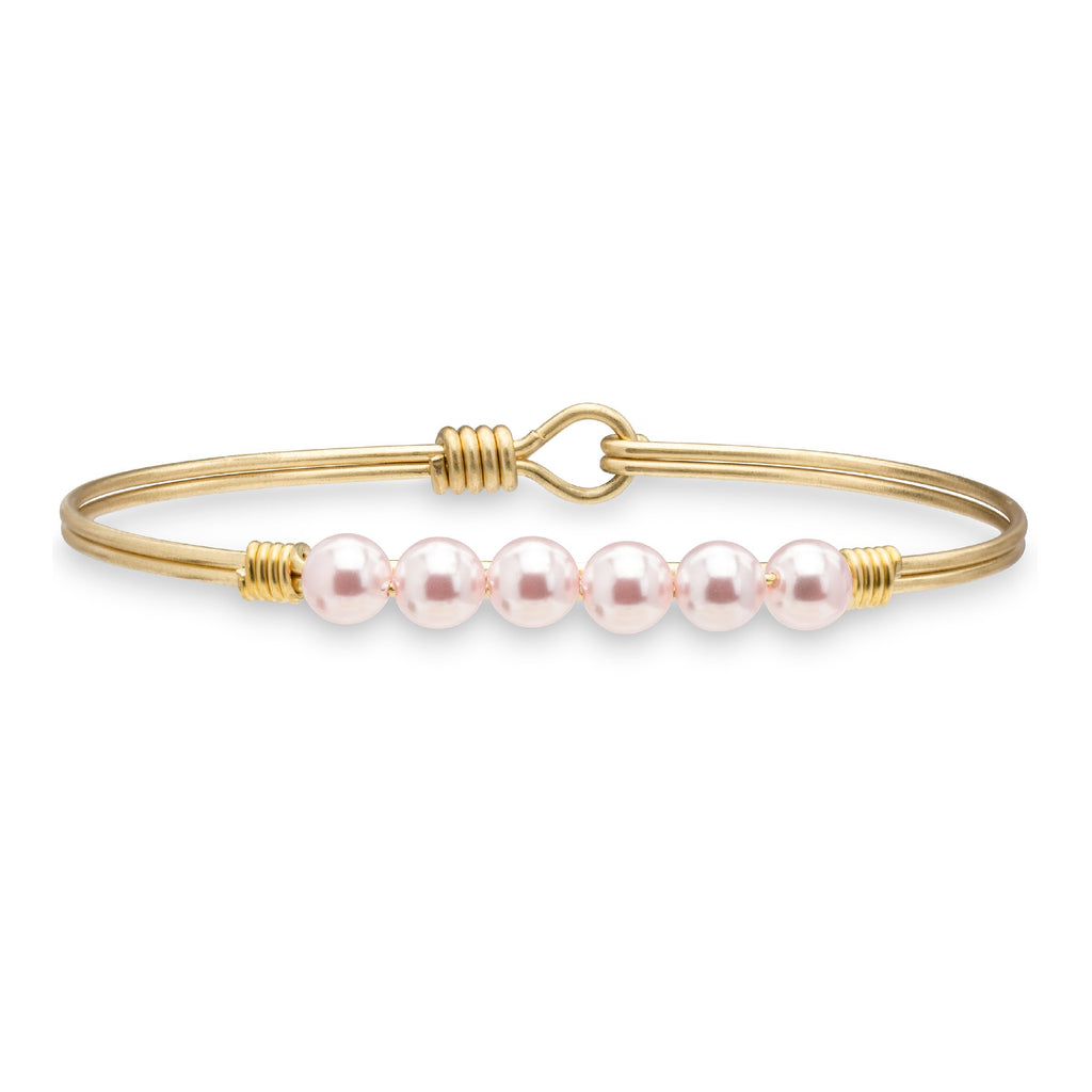 Crystal Pearl Bangle Bracelet in Baby Pink choose finish:Brass Tone