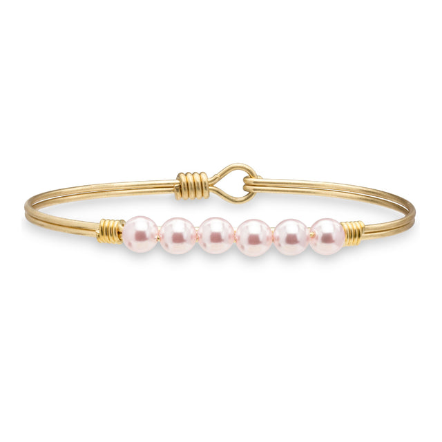 Crystal Pearl Bangle Bracelet in Baby Pink-Bangle Bracelet-Regular-finish:Brass Tone-Luca + Danni