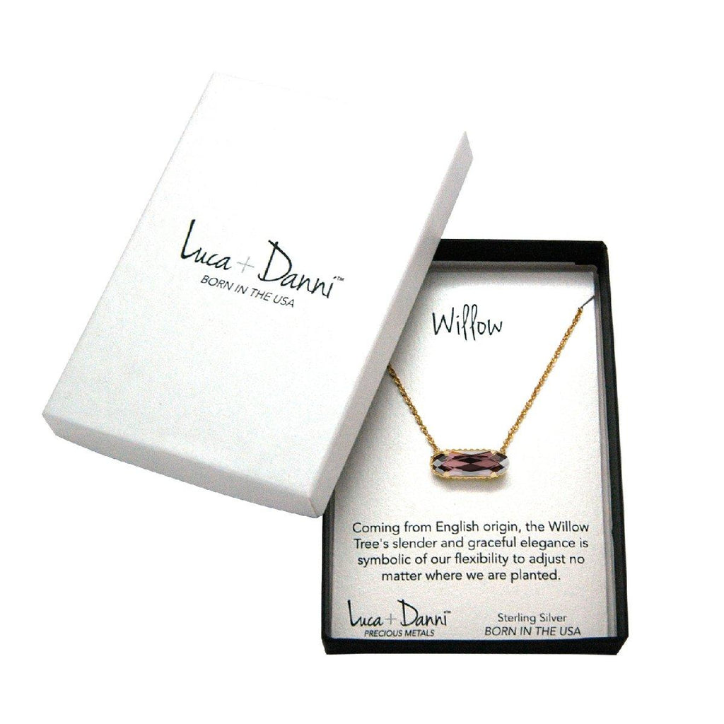 Sterling Silver Willow Necklace In Blush Light Rose-Precious Metals Pendant-finish:-Luca + Danni