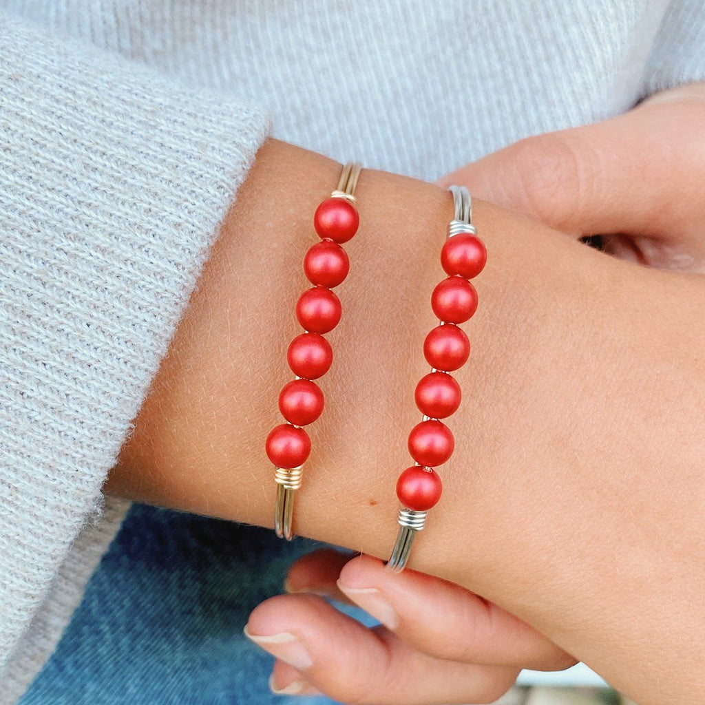 Crystal Pearl Bangle Bracelet in Scarlet
