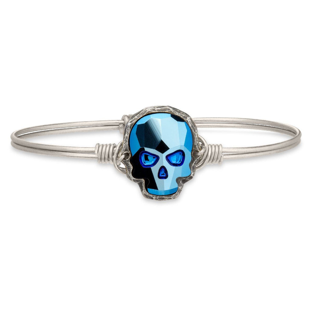 Sugar Skull Bangle Bracelet in Metallic Blue-Bangle Bracelet-Regular-finish:Silver Tone-Luca + Danni