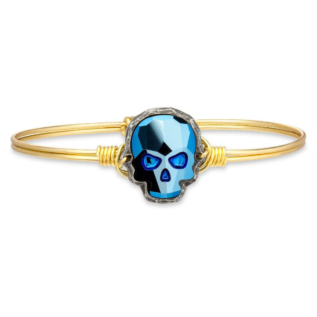 Sugar Skull Bangle Bracelet in Metallic Blue-Bangle Bracelet-Regular-finish:Brass Tone-Luca + Danni