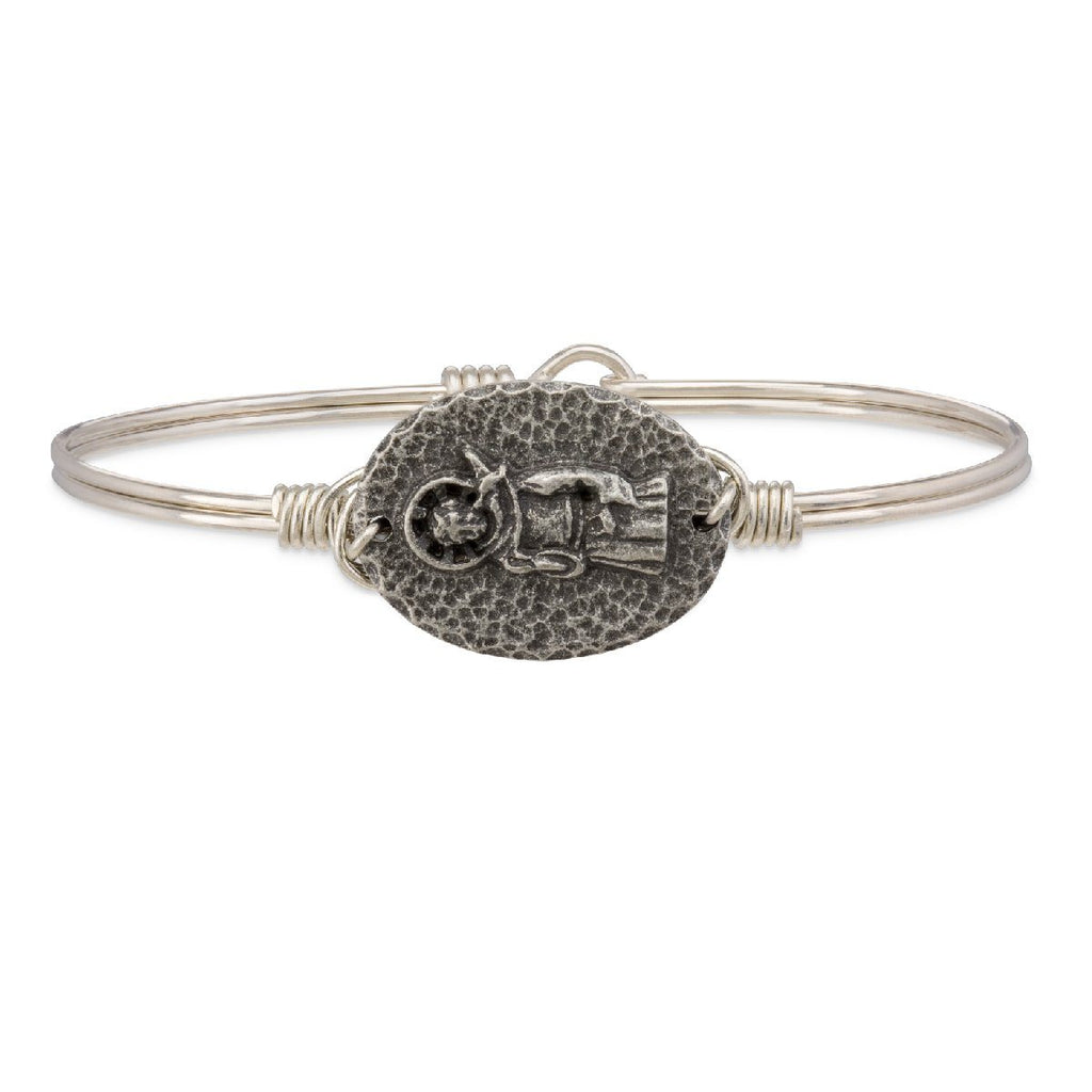 Saint Francis Bangle Bracelet-Bangle Bracelet-Regular-finish:Silver Tone-Luca + Danni