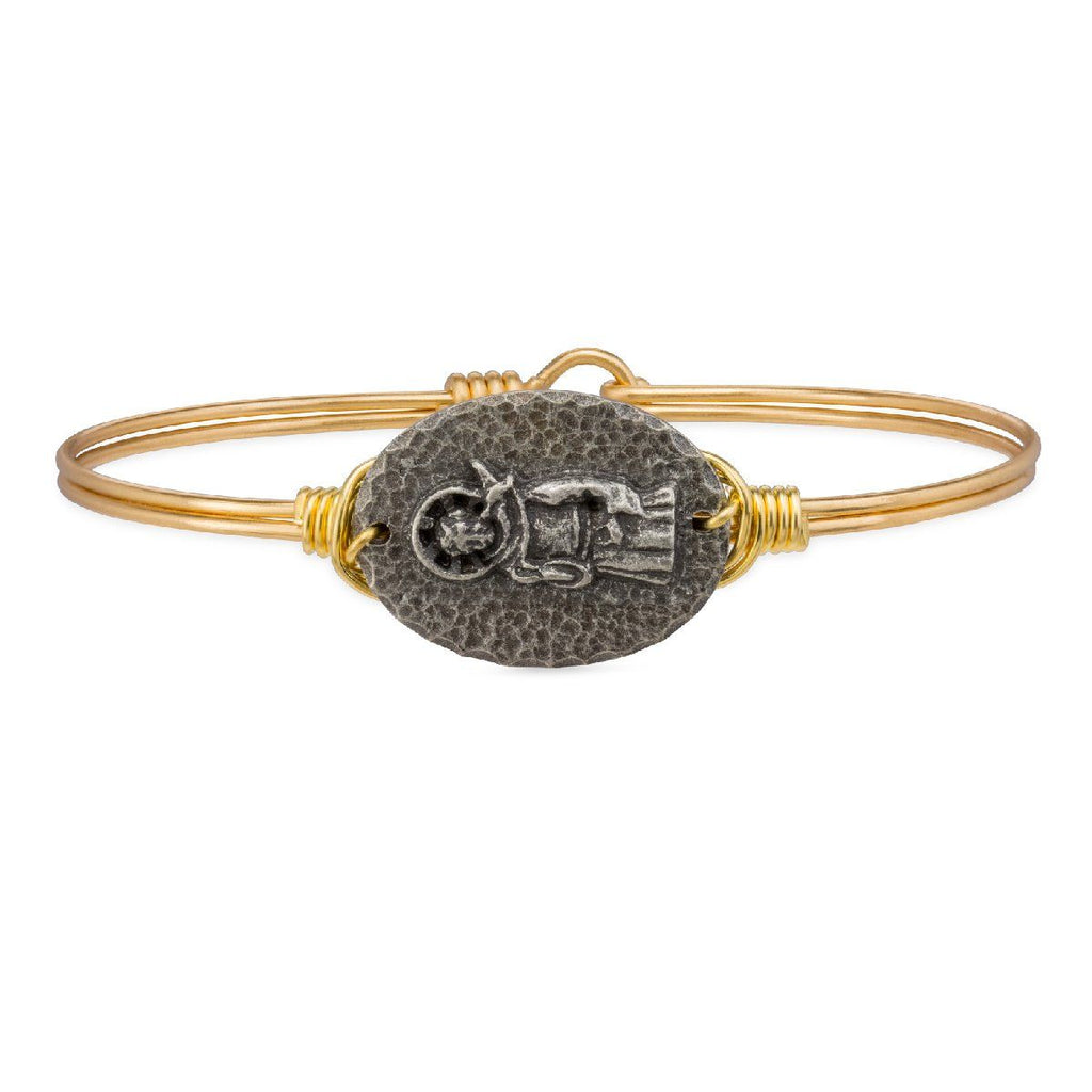 Saint Francis Bangle Bracelet-Bangle Bracelet-Regular-finish:Brass Tone-Luca + Danni