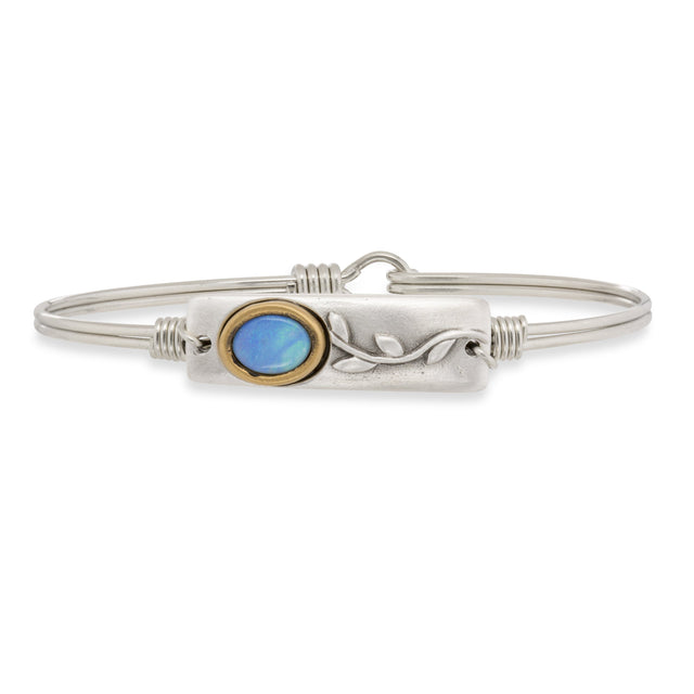 Flower Opal Bangle Bracelet-Bangle Bracelet-Regular-finish:Silver Tone-Luca + Danni