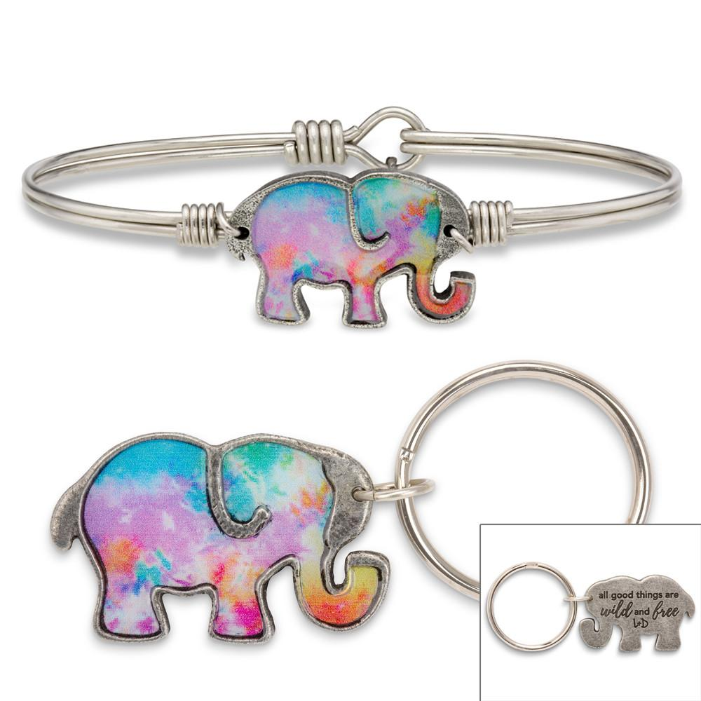 Tie Dye Elephant Bangle Bracelet-Gift Set-Regular-finish:Silver Tone-Luca + Danni