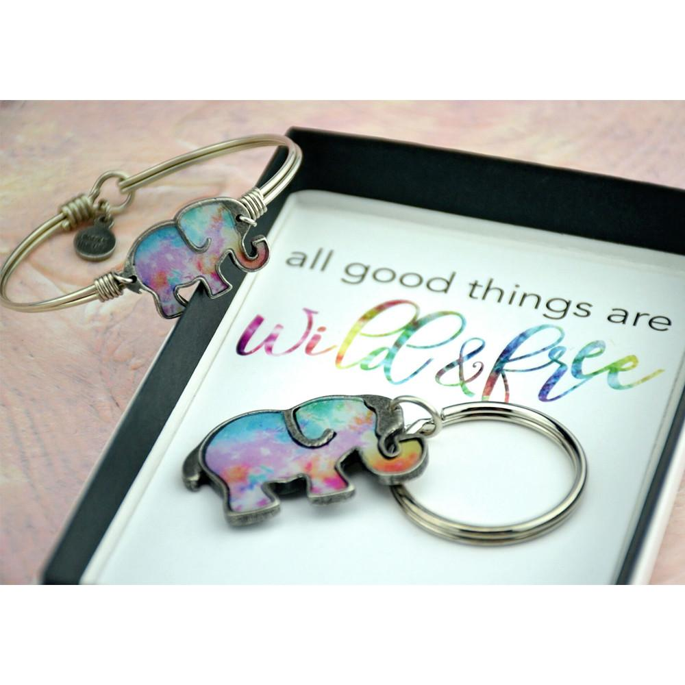 Tie Dye Elephant Bangle Bracelet-Gift Set-finish:-Luca + Danni