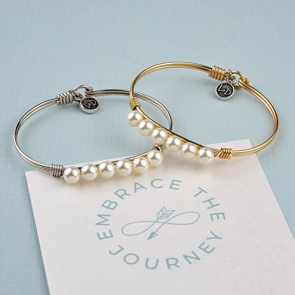 Crystal Pearl Bangle Bracelet In Classic White choose finish: