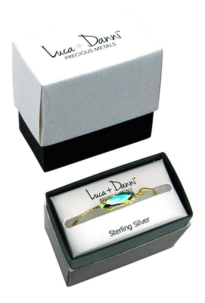 Sterling Silver Willow Bangle Bracelet In Caribbean-Precious Metals Bracelet-finish:-Luca + Danni