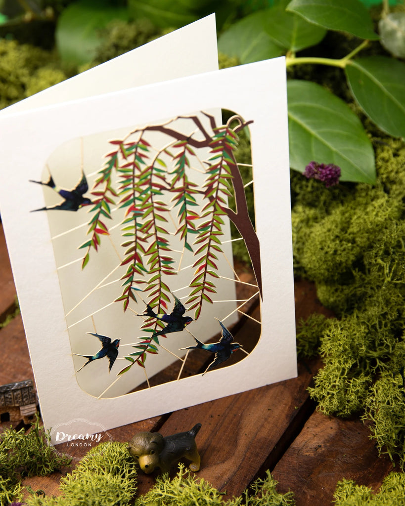 Swallow and Willows Greeting Card