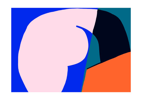 Abstract print consisting of pink, blue, orange and green.