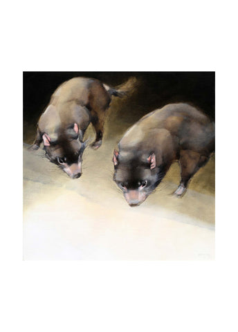 Gouache painting of two Tasmanian devils on an abstract tan background