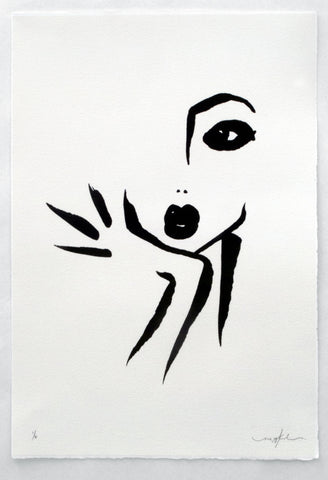Simple black line painting of a woman resting her head on her hands