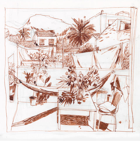 A Terrace in Inca - Brown Ink Edition