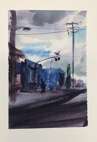 Watercolour painting of a cloudy dark day in Brunswick, Victoria