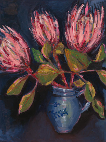 Proteas in Blue Pot