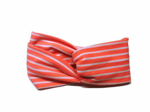 Hot Coral Stripe Turban Headband Turban Headband - Pieces To Peaces