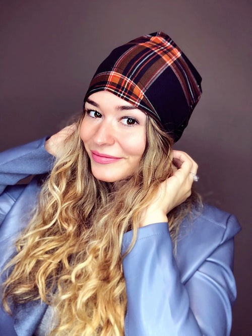 Nirvana Plaid Slouch Beanie Slouch Beanies - Pieces To Peaces