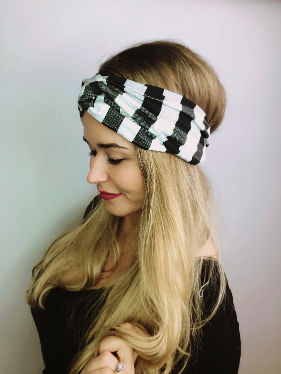 Mono Buffalo Plaid Turban Headband Turban Headband - Pieces To Peaces