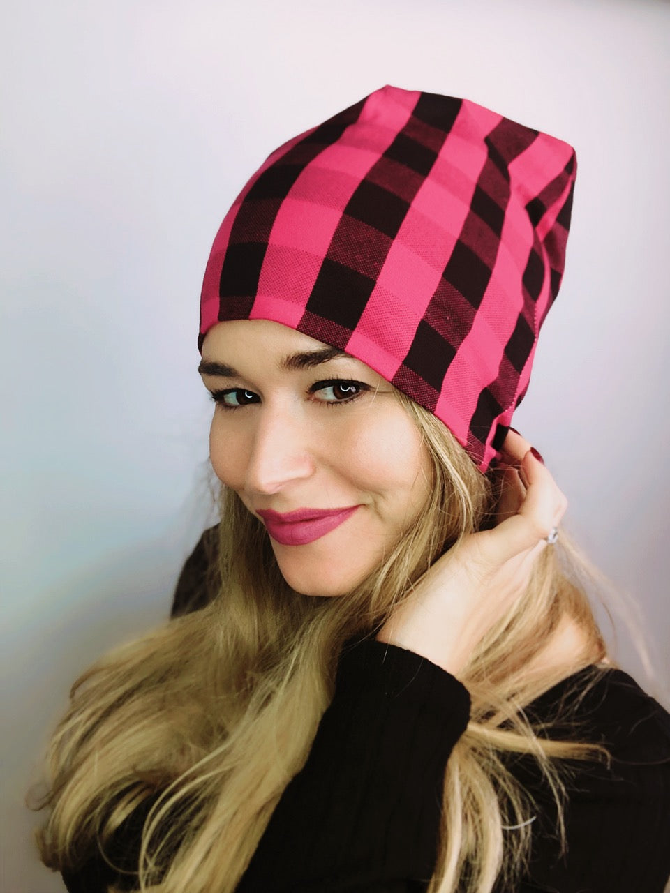 Red Buffalo Plaid Slouch Beanie Slouch Beanies - Pieces To Peaces