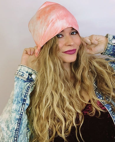 Coral Pink Slouch Beanie