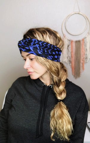 B&W Tribal Turban Headband