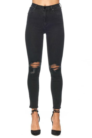 ABRAND- HIGH SKINNY ANKLE BASHER BLK 33239