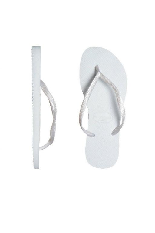 HAVAIANAS - SLIM METALLIC WHITE THONGS 26331