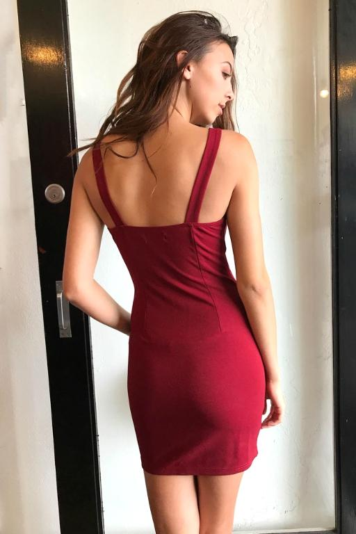 WEDNESDAYS PROJECT - IMOGEN DRESS BURGUNDY 33405