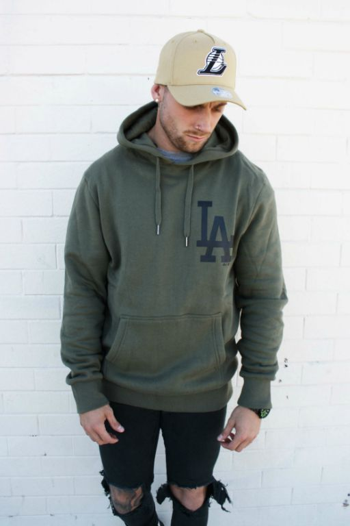 MAJESTIC ATHLETIC - LA DODGERS JUKE HOOD OLIVE 34562