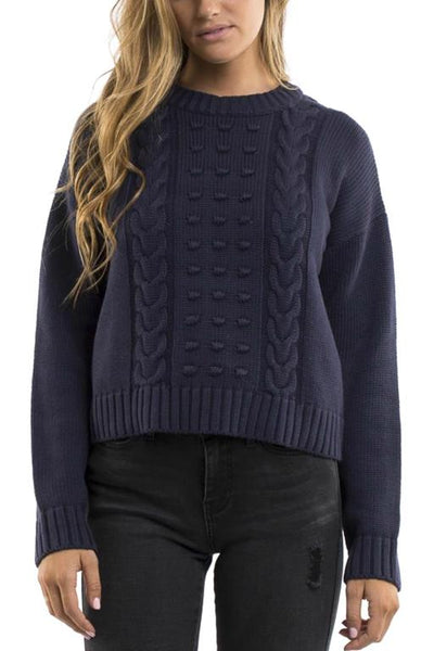 ALL ABOUT EVE - OLIVIA CABLE KNIT CROP JUMPER NAVY 33861