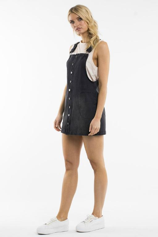 ALL ABOUT EVE - MARISSA PINAFORE WASHED BLACK DENIM 34786